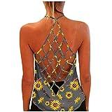 Womens Tank Tops Loose Fit, Women Halter Top Sunflower Print Hollow Out Open Back Sexy Criss Cross Cami Sleeveless T Shirt Vest Shirts