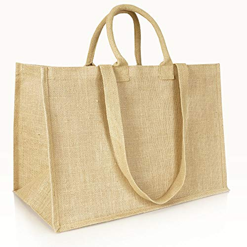 Jute statt Plastik Original | Jutetasche extra groß Einkaufstasche Jutebeutel | Fair & Nachhaltig | Shopping Einkauf |JB1415XL