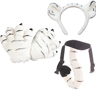 OLizee Plush Kids Tiger Party Costume Set Performance Props Cute Headband Tail Paws, White