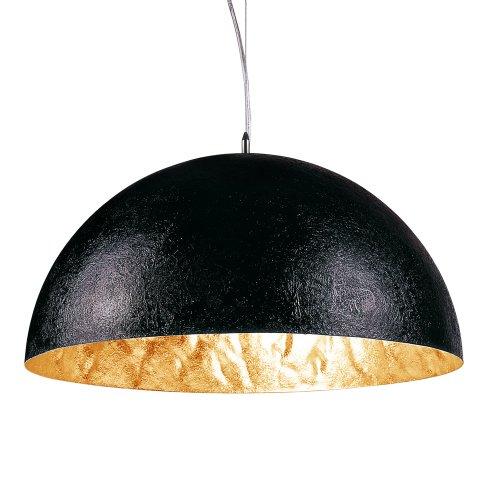 s.LUCE Blister Pendelleuchte Ø 55cm schwarz gold Glocke Schirmlampe Schüssel Esstisch-Hängeleuchte Wohnzimmer-Hängelampe Kinderzimmer Küchenleuchte