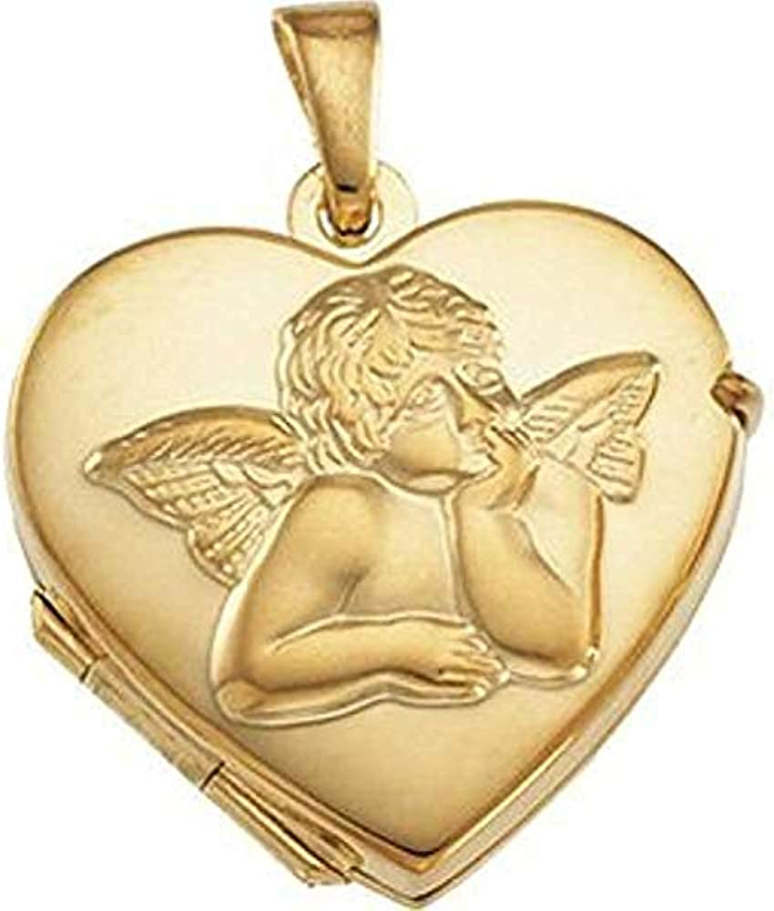 PicturesOnGold.com New popularity Solid 14K Gold Heart Angel W Shaped Locket Denver Mall 14