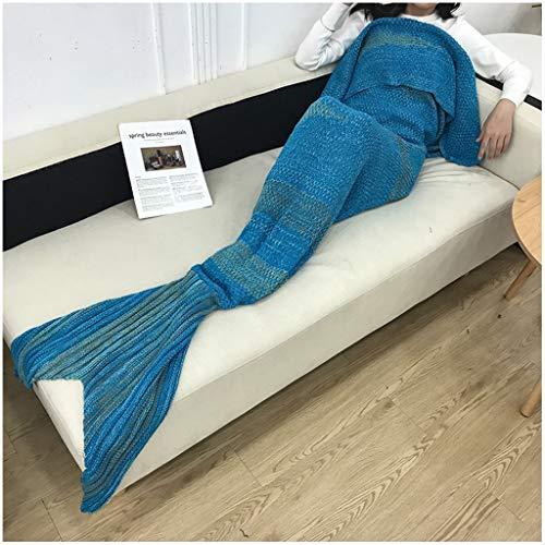 Adultes en tricot sirène Couverture de queue, Comfy couvertures moelleuses sirène for les femmes, les adolescents et les filles, les enfants Seatail Sac de couchage
