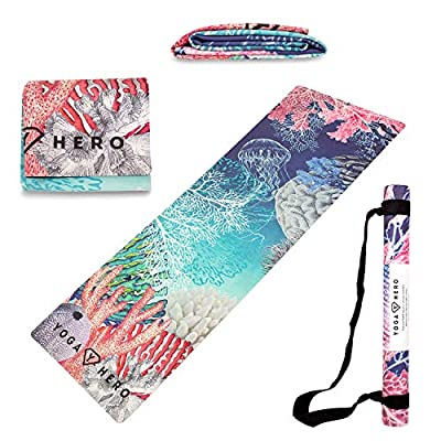 Yoga Hero Travel Yoga Mat Foldable Lightweight - Thin Light Non-Slip Travel Yoga Mat Eco Includes Carrying Strap (Ocean)
