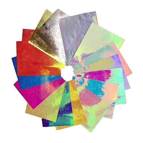 Bulary 16 STÜCKE Nail Art Aufkleber Feuer Flamme Aufkleber Aufkleber Flamme Reflexionen Nagel Aufkleber Multicolor Aurora Flamme Applique DIY Maniküre Aufkleber (Flamme)