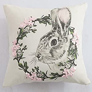 Cassiel Home Happy Easter Throw Pillow Covers 18×18 Easter Pillow Covers Decorations with Handmade Silk Ribbon Cute Rabbit 3D Flowers Wreath Spring Gift