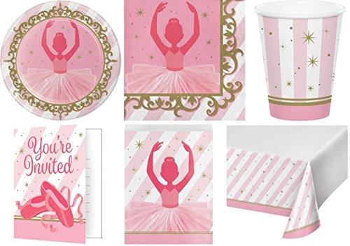 51-teiliges Party Set bezaubernde Ballerina Kindergeburtstag Geburtstag Party Fete Feier 8 Teller, 8 Becher, 16 Servietten, 8 Einladungskarten, 10 Papiertüten, Tischdecke