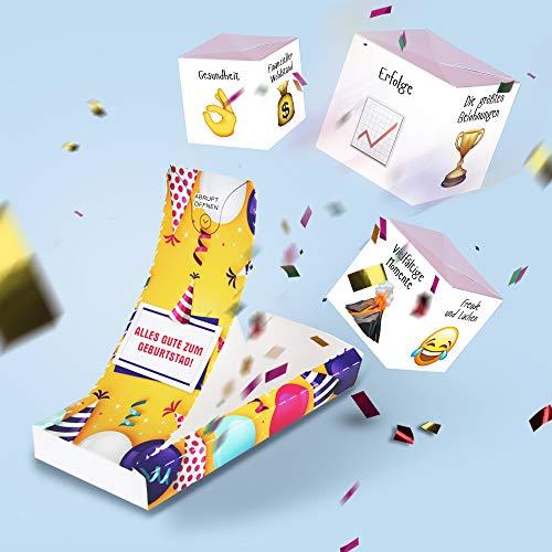 «Boom Karte!» - Geburtstag Explosion Karte mit Konfetti (3 cubes). Explodierende Konfetti Karte mit Wow-Effekt - Überraschung für Mann, Frau, Kollegen, Familie, Kinder.