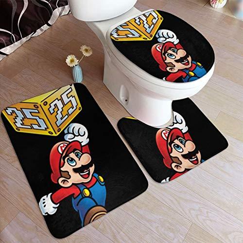 Super M-ar-io - Alfombrilla de ducha redonda para baño, alfombrilla de baño antideslizante, lavable a máquina, juego de 3 piezas, 50 x 80 cm