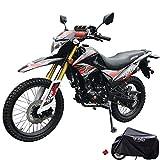 X-Pro 2021 Version Hawk DLX 250 EFI Fuel Injection 250cc Endure Dirt Bike Motorcycle Bike Hawk Deluxe Dirt Bike Street Bike Motorcycle with Motorcycle Cover, Bluetooth Speaker and Phone Bracket!(Red)