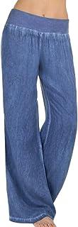RISTHY Mujer Pantalones Acampanados Vaqueros Pantalones Anchos de Piernas Anchas Sólido Cintura Alta Jeans de Mujer Casual...