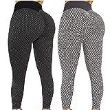 Paquete 2 Push Up Leggings para Mujer, Cintura Alta Mujer Malla Celular Pantalón de Yoga Leggings, Butt Lifter...