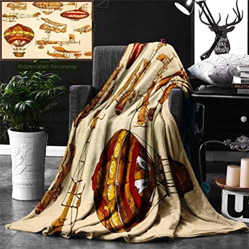Unique Custom Digital Print Flannel Blankets Aviation Vintage Old Flying Objects Hot Baloons Planes Parachutes Print Sand Brown Super Soft Blanketry for Bed Couch, Throw Blanket 60 x 50 Inches