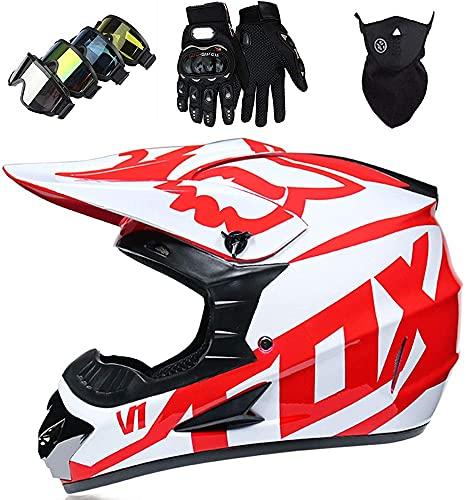 Casco Motocross Niño 5~12 Años ECE Homologado Casco Moto Integral Unisex para Moto Cross Descenso Enduro MTB Quad BMX Bicicleta (Gafas+Máscara+Guantes) con Diseño Fox - Brillante Rojo,XL