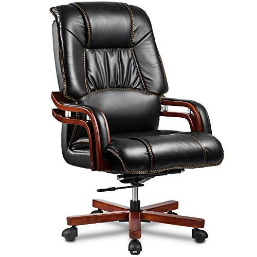 Halter EY-14A Fully Assembled Ergonomic Reclining PU Leather Executive Office Chair with Adjustable Lumbar Support and Tilt Tension – Zero Back Pain - 46.5' X 25' X 19.7' - 22'
