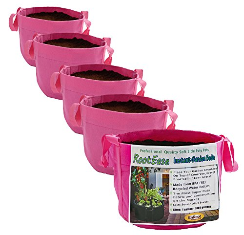 RootEase 5-Pack Garden Planting Aeration Fabric Pot, Heavy Duty Durable Grow Bags/Planter, Raised Bed Gardening, Best Air-Pruning Root Treatment Eco-Friendly Grow Bags with Handles (5 Gallon, Pink)