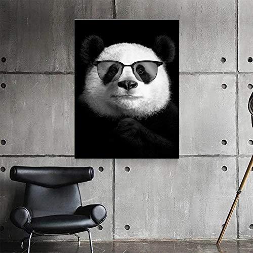 MINMIN Pintura Impresa Decoración del hogar Lienzo Dibujos Animados Animal Partido Gafas de Sol Pintura Pared Arte Cartel Foto Linda para Fondo de cabecera Regalo -24x36inch