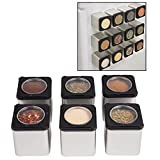 Magnetic Spice Jars- Shake or Pour Containers Attach to Most Refrigerator Doors- Set of 12 Dispensers- Easy Open Window Top Shakers