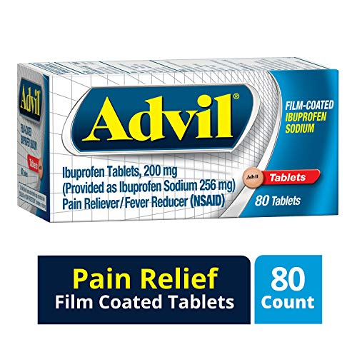 Advil Film Coated Tablet Pain Reliever and Fever Reducer, Ibuprofen 200mg, 80 Count, Fast-Acting Formula for Headache Relief, Toothache Pain Relief and Arthritis Pain Relief