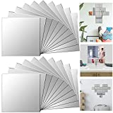 Xinlie Acrílico Espejo Decorativo Pegatinas de Pared de la Pluma Espejo Pared Adhesivo Espejos de Pared Adhesivo 3D Pegatinas de Pared Calcomanías Espejos Decorativos Arte Mural Pared (20 Piezas)