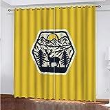 Cortinas Salón Modernas Opacas para Ventanas de Resistente a la Luz Tela Suave y Gruesa con Ojales - Impresión Amarilla Creativa 210x113 cm (Ancho x Alto)