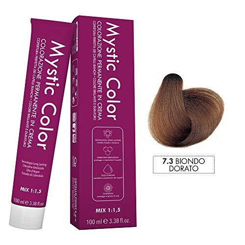 Mystic Color - Crème Colorante Permanente à l'Huile d'Argan et au Calendula - Coloration Longue Durée - Couleur Blond Doré 7.3-100ml