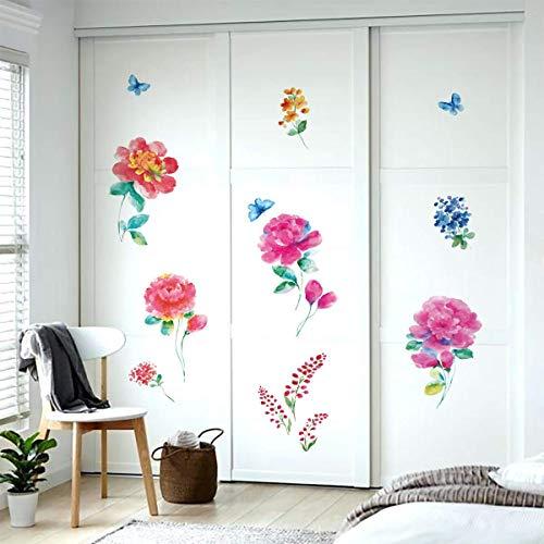 ufengke Pegatinas de Pared Flores de Peonía Acuarela Vinilos Adhesivas Pared Arbusto de Flores Mariposas para Dormitorio Guardería Habitación Infantiles Niños