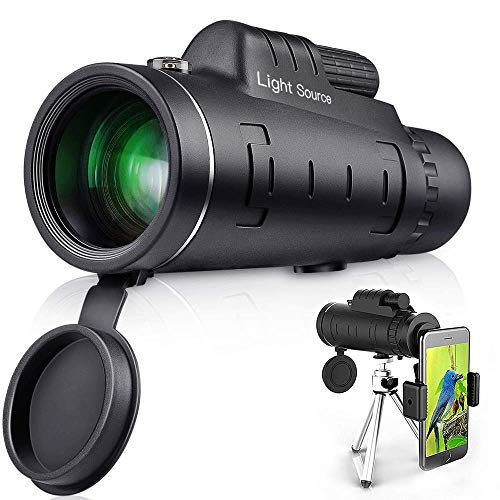 LS Monocular Telescope, 12X52 High Power HD Monocular with Smartphone Holder & Tripod for Hiking, Fishing, Hunting, Bird Watching, Travelling and Other Outdoor Activities, Great gift for adults and ch
