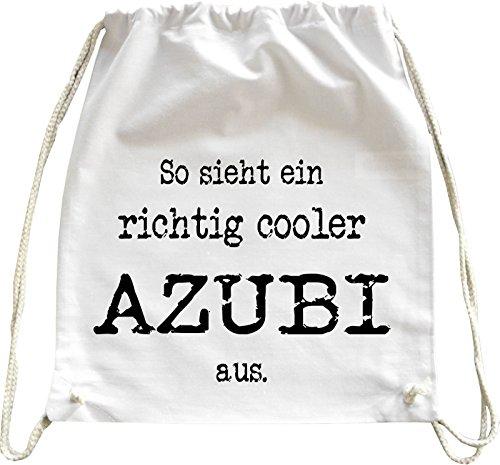 Mister Merchandise Turnbeutel Natur Rucksack So Sieht EIN richtig Cooler Azubi aus, Farbe: Weiß