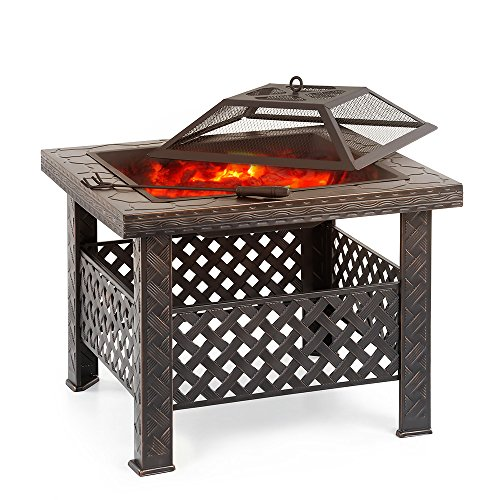 iKayaa Feuerstelle Feuerschale Terrassenofen mit Grillrost und Funkenschutz für Freien Garten & Terrasse
