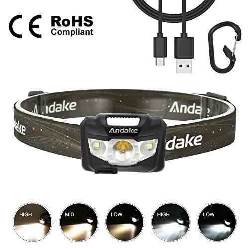 Lampe Frontale PRO - CREE XPG2 R4 2 Blanc et 1 Orange 190 Lumen 66 Mètres -Rechargeable USB