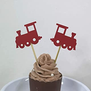 24 CT Red Train Cupcake Toppers Baby Showers Kid's Birthday Travel Theme Transportation Party Decorations