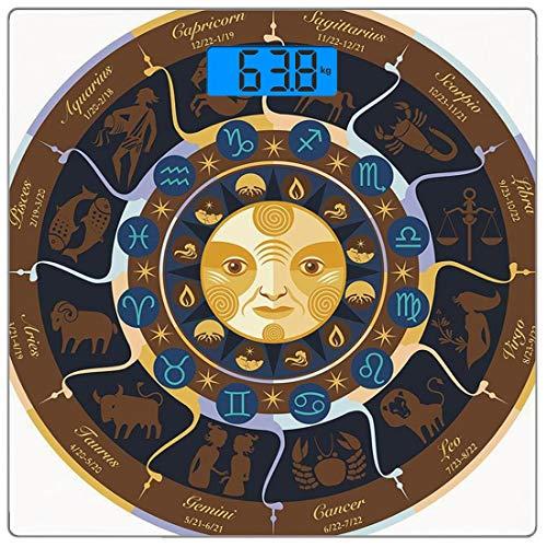 Digitale Präzisionswaage für das Körpergewicht Platz Astrologie Ultra dünne ausgeglichenes Glas-Badezimmerwaage-genaue Gewichts-Maße,Widder Stier Zwillinge Krebs Leo Jungfrau Waage Skorpion Horoskop Z