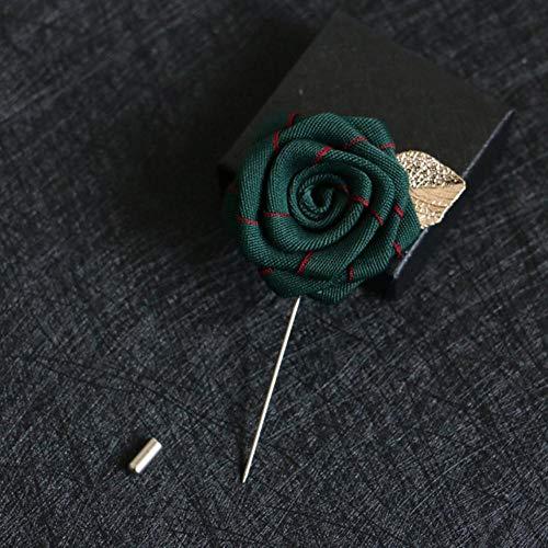Piero Ribbon Rose Broche Flores de Hoja Pasadores de Aguja Largos y broches para Hombres Trajes Camisa Collar Joyas, 10