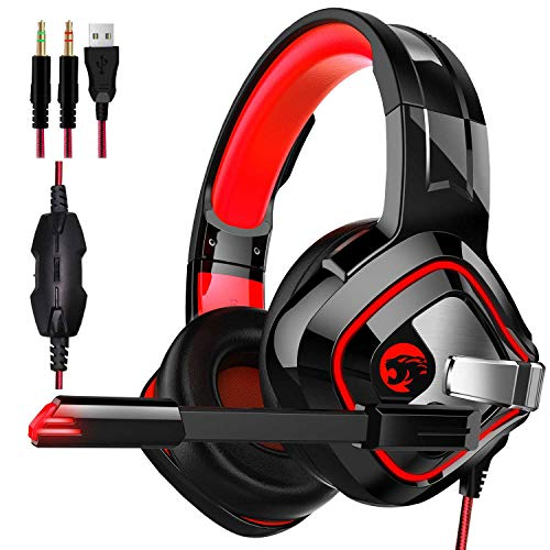 LIMTT Gaming Headset, Beexcellent Comfort Ruisonderdrukking Kristalhelderheid 3,5 Mm LED Professionele Hoofdtelefoon Met Microfoon Voor PS4, Laptop Tablet, Mac Smart Phone, PC Rood