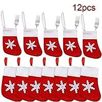 【Dimensioni appropriate:】 la dimensione di ogni portaposate di Natale è di circa 14 * 8 cm, che è sufficiente per posizionare l'argenteria quando si prepara la tavola nella cena di Natale. Queste saranno decorazioni divertenti per la tua famiglia nel...