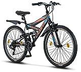 Licorne Bike Strong V 26 Pollici Mountain Bike Fully, MTB, Adatto a Partire da 150 cm, V Freno Anteriore e Posteriore, Cambio Shimano 21 Marce, sospensioni Complete, Bicicletta da Ragazzo e da Uomo