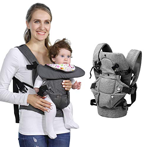Baby Soft Carrier, 4-in-1 Ergonomic Convertible Carrier with Adjustable Straps and Breathable Mesh (Grey)