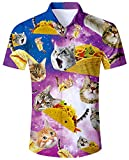 ALISISTER Camisa Hawaiana Hombre Camisetas de Manga Corta 3D Pizza Cat Prints Ugly Aloha Botón Blusa Vestido Fiesta de Vacaciones de Verano Ropa de Playa Ropa L