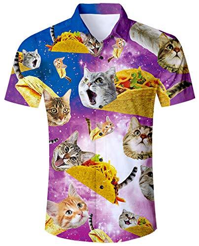 ALISISTER Hawaiihemd Herren 3D Pizza Katze Gedruckt Kurzärmliges Hemd Tropical Button Down Strandhemd Aloha Summer Hawaii Regular Slim Fit Shirts Bunt Hemden M
