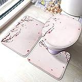 Juego de alfombras de baño Pintura de estilo oriental Primavera de flor de cerezo Juegos de alfombras de baño antideslizantes, cubierta de almohadilla de baño Alfombrilla de baño y tapa de inodoro