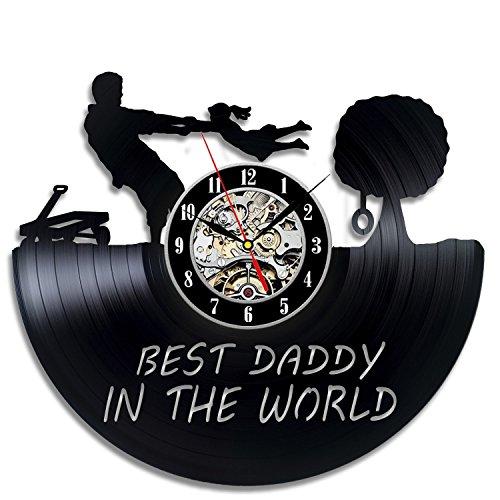 Meet Beauty Ding El Reloj de Pared del Vinilo del Tema del día del Padre - el Reloj Colgante más Nuevo de la decoración casera - Idea del Regalo para el Padre Dad Men Teacher El día del Padre Navidad