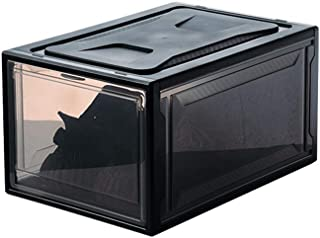 JAY-LONG 4 Packs Clear Shoe Boxes with Lids, Foldable Plastic Organizer Box, Waterproof Stackable Sneaker Storage Box, Suitable for Home Hotel Shoe Store,Black