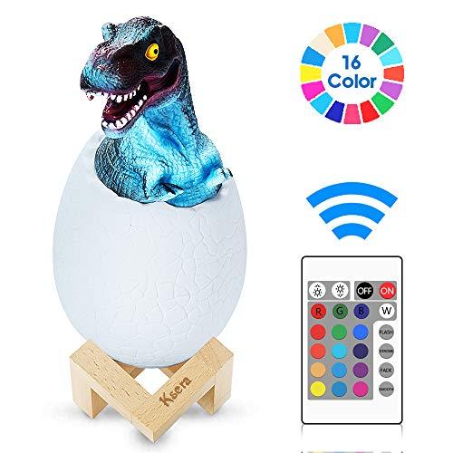 Ksera Lámpara de Dinosaurio 3D, Juguetes de Dinosaurios 3D Luz de noche LED, Lámpara de Decoración de 16 Colores con Pat & Touch y Control remoto, Regalo perfecto para cumpleaños niños y niñas
