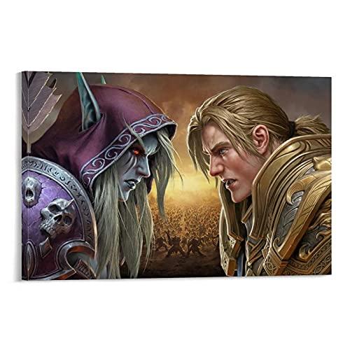 HULUOBO Póster decorativo de World of Warcraft Battle for Azeroth Art Poster de pintura de pared para sala de estar, dormitorio, 60 x 90 cm