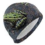 VTYOSQ Gorro de baño Rana Verde Animal Gorro de natación para Hombre Niño Adulto Joven Adolescente Sombrero de...