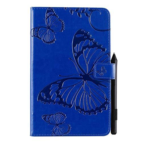 SGJFZD Flor de Mariposa patrón Floral PU de Cuero de la Cartera de la Tableta Cubierta de la Caja Compatible con Samsung Galaxy Tab A con S Pen 8.0 2019 SM-P200 / SM-P205 (Color : Blue)