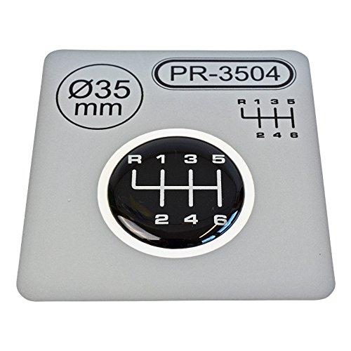 1 autocollant pour levier de vitesse - Diamètre : 35 mm - 6 vitesses - Emblème en silicone - Schéma 1.