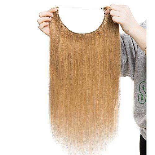 Extensions Echthaar mit Unsichtbarer Draht Dunkelblond - Haarverlängerungen Haarteile Glatt Haarverdichtung Keine Clip 16