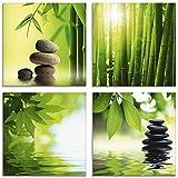 Artland Glasbilder Wandbild Glas Bild Set 4 teilig je 30x30 cm Quadratisch Asien Wellness Zen Spa Steine Bambus Steinpyramide Entspannung S6BJ -