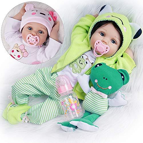 Yesteria Reborn Babys Mädchen Lebensechtes Kleinkind Silikon 55 cm 2 Outfits mit Spielzeugfrosch